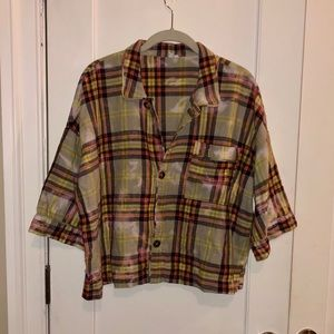 UO Out From Under Plaid Button-Down Shirt M NEW